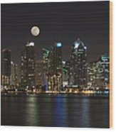 Moonrise Over San Diego Wood Print