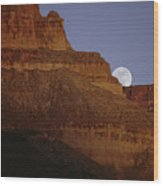 Moonrise Over The Grand Canyon Wood Print
