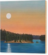 Moonrise Over The Lake Wood Print