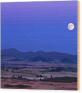 Moonrise Over The Palouse By Jean Noren Wood Print