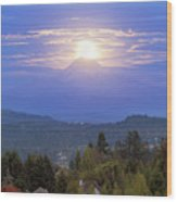 Moonrise Over The Top Of Mount Hood Wood Print