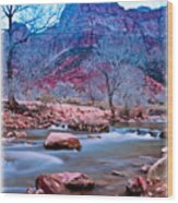 Moonrise Over Zion Wood Print