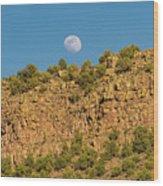 Moonrise Rio Grande Gorge Pilar New Mexico Wood Print