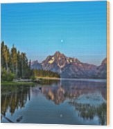 Moonset On Jackson Lake Wood Print