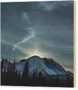 Moonset On Mt. Rainier Wood Print