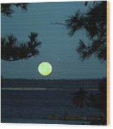 Moonset On Rayburn Lake Wood Print