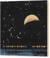 Moonset Over Depot Wood Print