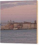 Moonset Over Venice Wood Print