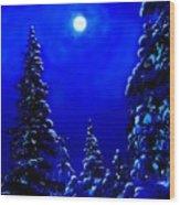 Moonshine On Snowy Pine Wood Print