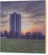 Moor Tower Sunset Wood Print