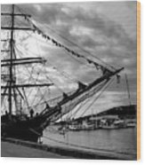 Moored At Hobart Bw Wood Print