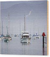 Moored Boats In Morro Bay Wood Print