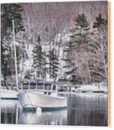 Moored Boats In Maine Winter  Wood Print