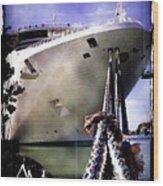 Moored Cruiseship Wood Print