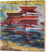 Moored In The Cove Wood Print
