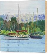 Moored Ketch Wood Print