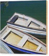 Moored Rowboats Wood Print