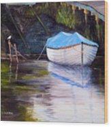 Moored Rowing Boat Wood Print