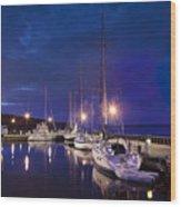 Moored Sailboats Wood Print