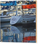Moored Sailboats Wood Print