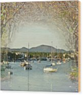 Moored Yachts In A Sheltered Bay Wood Print