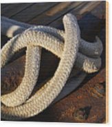 Mooring Rope Made Fast Wood Print