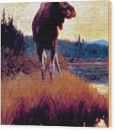 Moose Against Skyline Wood Print