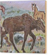 Moose And Horses Animal Vignette From River Mural Wood Print