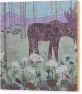 Moose And Three Sparrows Wood Print