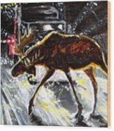 Moose Crossing Wood Print by Jenn Cunningham