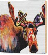 Moose In Orange Wood Print