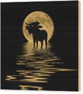 Moose In The Moonlight Wood Print