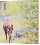 Moose In The Yard Wood Print