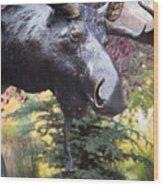 Moose In Vail Wood Print