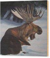 Moose In Winter Wood Print