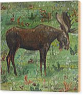 Moose Tapestry Wood Print