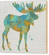 Moose Watercolor Art Wood Print