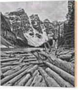 Moraine Lake Driftwood No 1 Wood Print