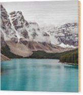 Moraine Lake In The Clouds Wood Print