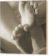 More Little Feet Wood Print by Mamie Thornbrue