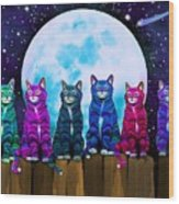 More Moonlight Meowing Wood Print