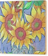 More Sunflowers Wood Print by Loretta Nash