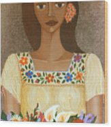 More Than Flowers She Sold Illusions Wood Print