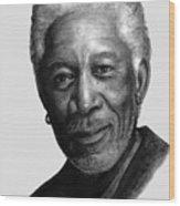 Morgan Freeman Charcoal Portrait Wood Print