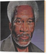 Morgan Freeman Portrait Wood Print