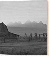 Mormon Row Sunset Panorama Bw Wood Print