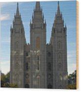 Mormon Temple Fall Wood Print