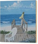 Morning At Blue Mountain Beach Wood Print