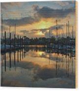 Morning At The Marina Wood Print