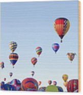 Morning Ballon Rise Wood Print